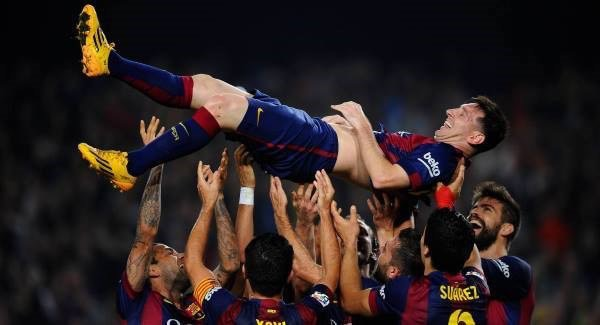 Barcelona celebrate Lionel Messi goals.