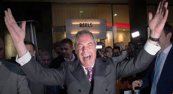 "Nigel Farage celebrates a victory for 'Brexit', stating that the 23 June would ""go down in our history as our independence day""."