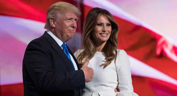 Donald and Melenia Trump at the convention in Ohio.