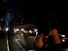Power outage in New York city makes streets go dark.