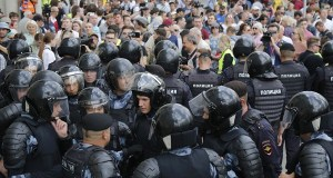 Riot Police gather ahead of Russian election in moscow.