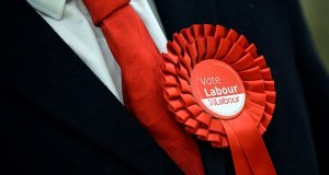 Vote labour badge; politics