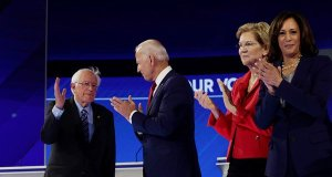Democratic Party candidates Joe Biden and Bernie Sanders
