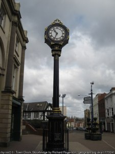 This clock was designed in 1861 by Sir Frank Short's grandfather, William Millward. In 2007 it was restored and continues to be a prominent Stourbridge landmark. Credit and thanks to Richard Rogerson for this photo, CC License, via geograph.org.uk. Link: http://www.geograph.org.uk/photo/1773241