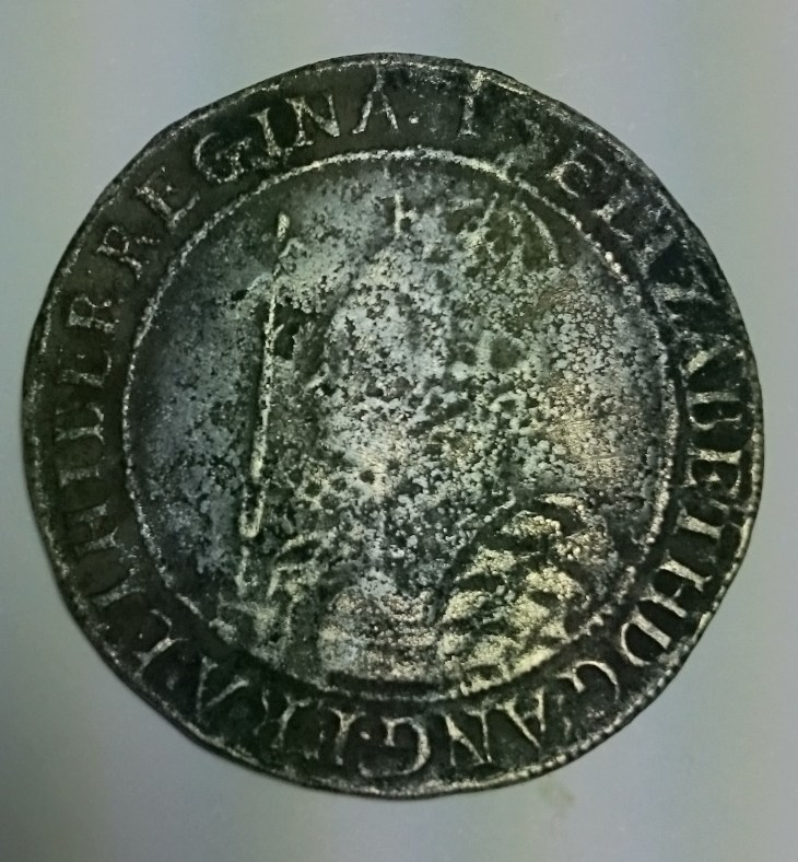 Queen Elizabeth I half-crown coin from the Thames, by Nicola White