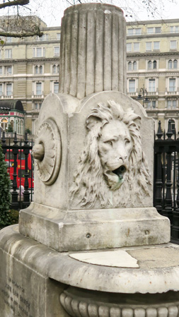 Lion head on the John Law Baker fountain at St Martin in the Fields (Jill Browne)