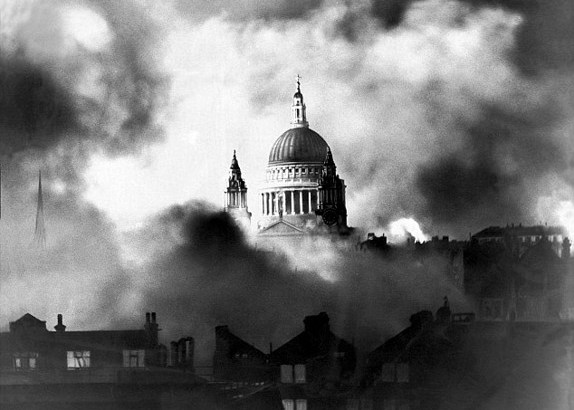 St Paul's in the Blitz by Herbert Mason, December 29-30, 1940 (Wikipedia)
