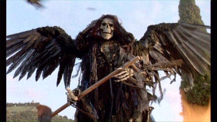 Skeleton with black wings in the film Cemetery Man