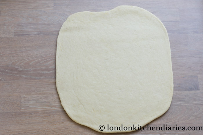 Rolled out yeast dough