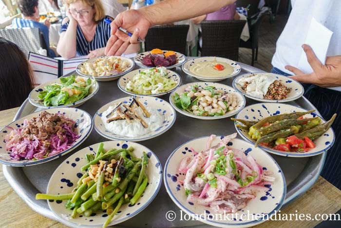 Selection of mezze at Manta Ray Tel Aviv Israel