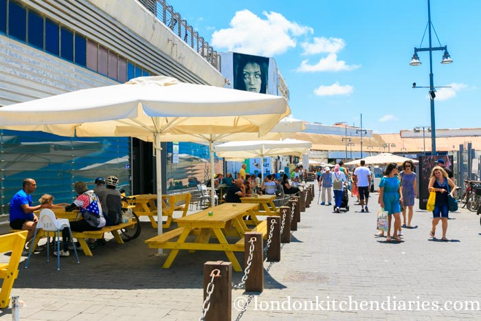 Port promenade line with restaurants in Jaffa Israel