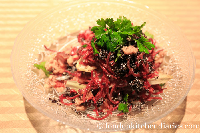 Beetroot and veal salad at Lumina Tel Aviv
