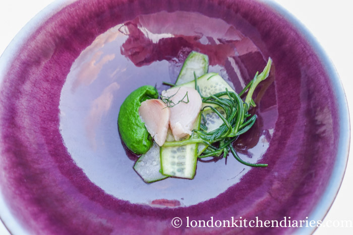 cress puree, fish and cucumber Mikla Istanbul