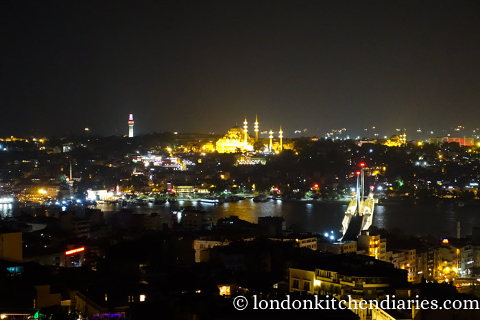 View at night over Istanbul from Mikla Restaurant