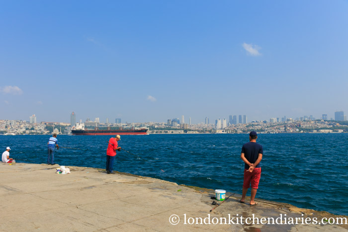 Asian side of Istanbul with fisherman on the pier