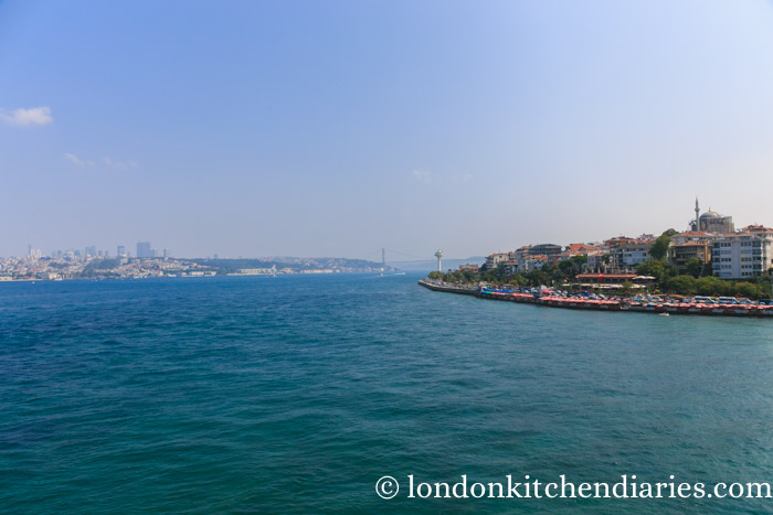 View of the Bosphorus with the Bosphorus Bridge in the distance