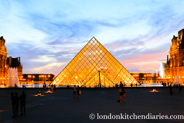The Louvre in Paris at sunset
