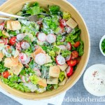Fattoush with yogurt dressing