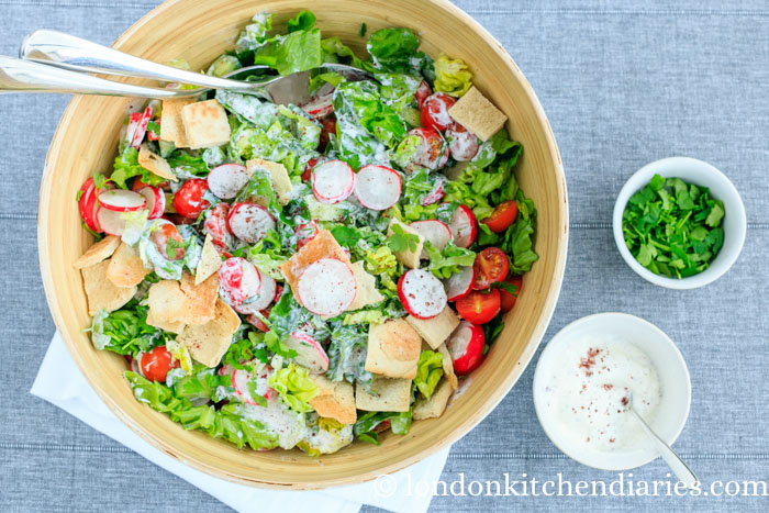 Fattoush with yogurt dressing recipe