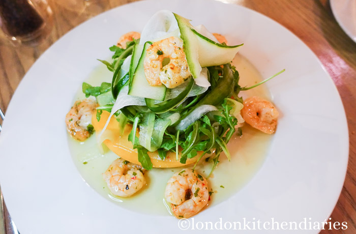 Summer salad of grilled king prawns at Vivat Bacchus