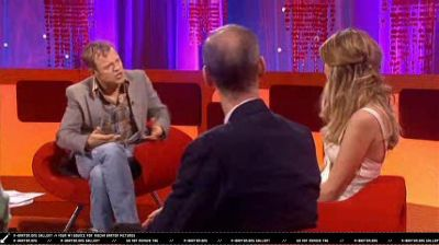 Graham Norton and guests sitting on Jackie Choi's Eye Chair