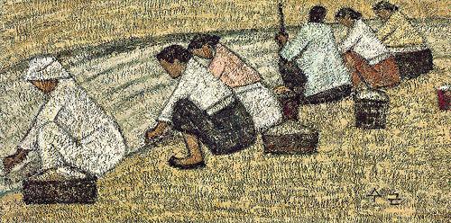 A Wash Place. Park Soo-keun. 37 x 72 cm, oil on canvas.