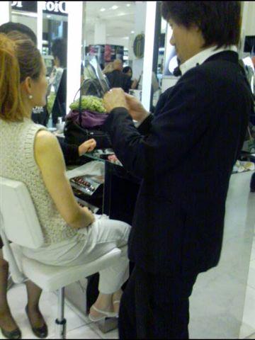 Seong Won Kim gives Francesca Cho a catwalk fabulous makeover at the Selfridges Christian Dior counter