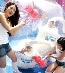 Yonhap, via Korea Times: a Durex demo