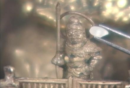 Sarira Casket - detail (with rice grain)