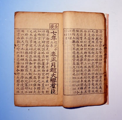 The Chachi Tonggam Kangmok was printed in 1438 with Kabin (smaller letters) and Pyungjin (larger letters) type