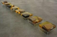 Kim Yeon: Golden Bridge V (resin & pebbles, 10 x 25 x 25cm, x8)