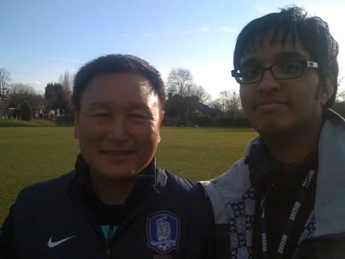 Aashish Gadhvi with head coach Huh Jung-moo