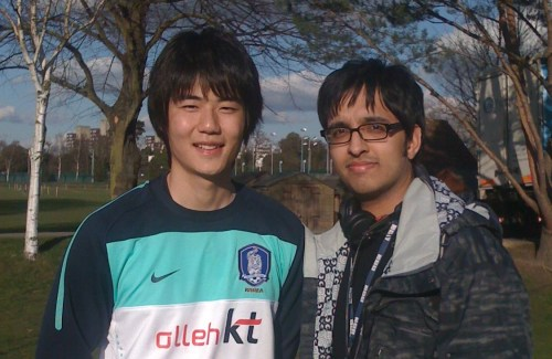 Aashish Gadhvi with Celtic's Ki Sung-yong