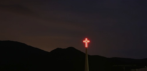 Red neon cross, Korea