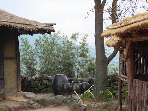 Part of the set village used in filming The Land