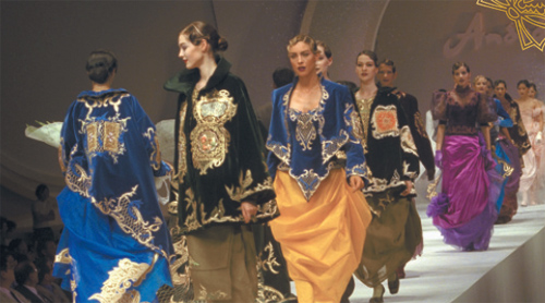 Some of Andre Kim's designs at Seoul International Fashion Collection in 1997