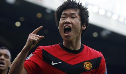 Park celebrates a goal against arch-rivals Liverpool