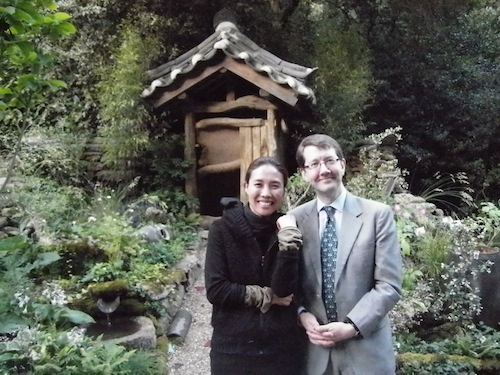 With Hwang Ji-hae in front of the Haewooso garden at Chelsea