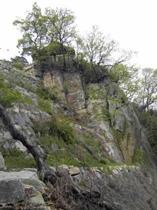 Looking up at Jeongchuiam from the steep trail