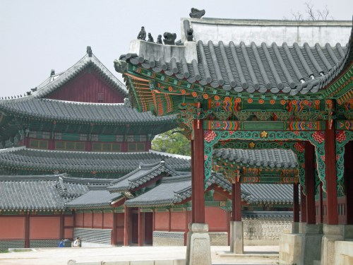 Looking from the front of the royal living quarters back to the main throne room (inJeongjeon)