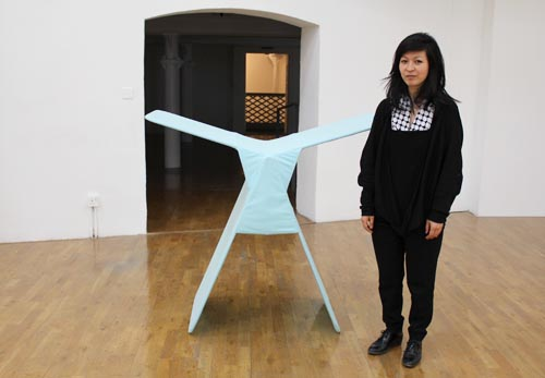 Haegue Yang with a work from her Non-Indépliable series
