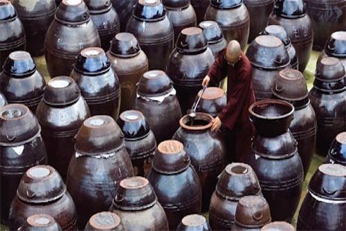 Jars of Soy sauce, doenjang and gochujang at Haeinsa