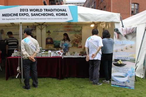 The Sancheong  stall gets ready for business