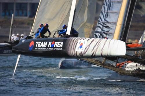 Team Korea show off their tiger-stripe design