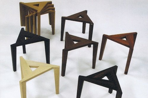 Jung Myung-taek's stackable stools in solid wood