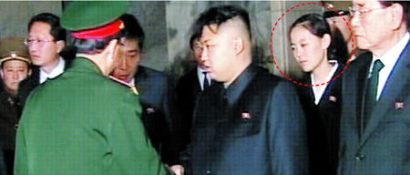 Kim Jong-un's imaginative haircut. His sister Kim Yeo-jong is circled