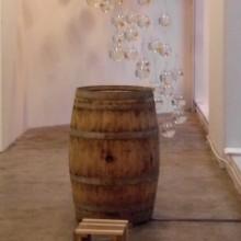 Yonghyun Lim: Oak Barrel (2011). Video Projection on oak wood, 69 x 69 x 100cm