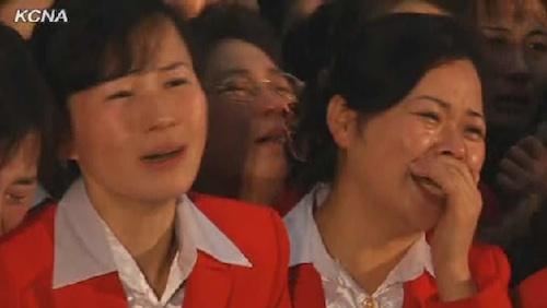 Employees of Kwangbok Area Supermarket grieve over demise of Kim Jong Il (from KCNA website)