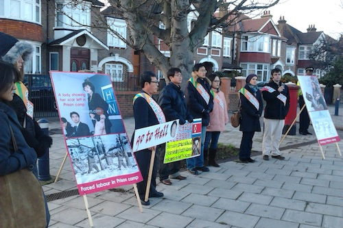 A group of protestors outside the North Korean embassy in West London, 9 December 2011