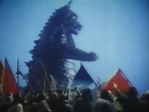 Pulgasari accompanies the peasants into battle against the government forces